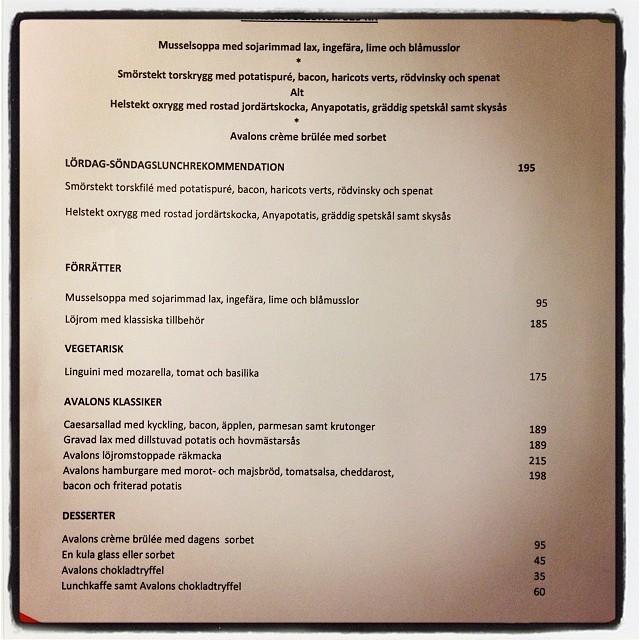 Glöm ej att Avalon restaurang & Bar har fantastiska luncherbjudanden nu även på söndagar! Välkomna!