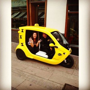 "Want to get around the city center for a cheep buck? Here we have a mini taxi called ""Bzzt"". Want more information, goo to there instagram @bzztsweden or visit www.bzzt.se. @avalonhotel @design_hotels"